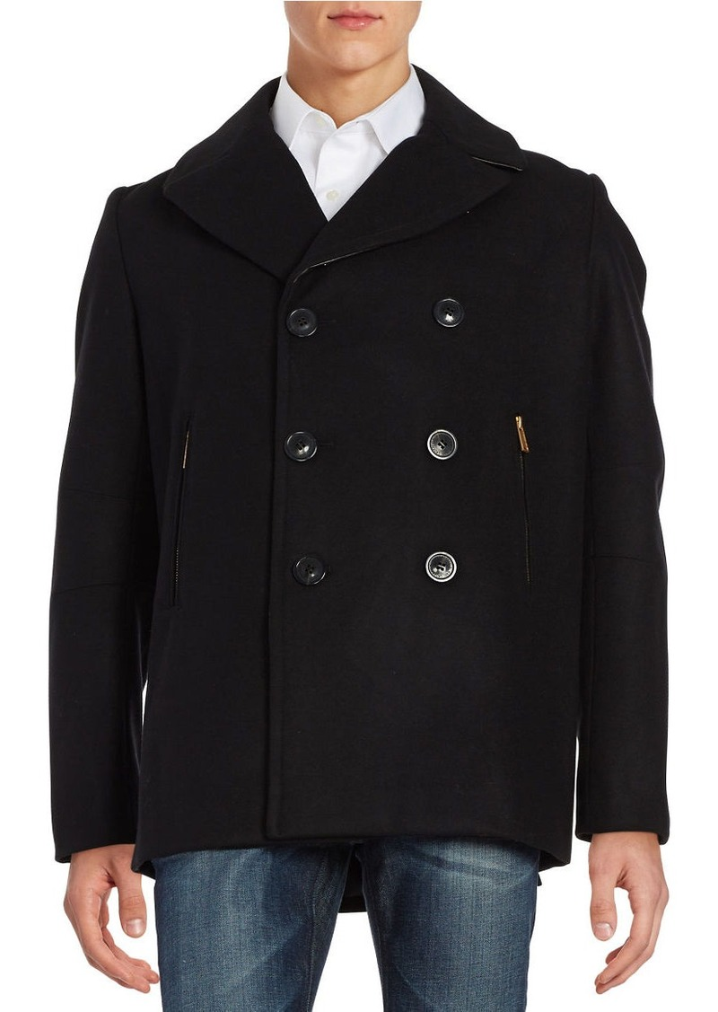 KARL LAGERFELD PARIS Studded Leather-Trimmed Peacoat