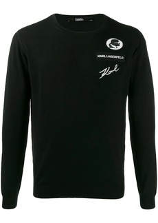 Karl Lagerfeld logo embroidered sweater