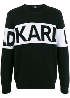Karl Lagerfeld logo knit crewneck sweater