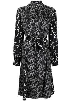 Karl Lagerfeld logo print bow tie shirt dress