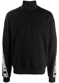 Karl Lagerfeld logo tape zip-up sweatshirt