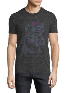 Karl Lagerfeld Men's Abstract-Print Heathered Crewneck Short-Sleeve T-Shirt