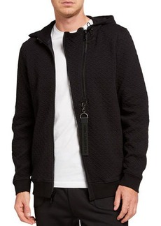 Karl Lagerfeld Men's Basket Quilted Zipper-Front Hooded Jacket