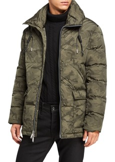 Karl Lagerfeld Men's Camouflage Quilt Puffer Coat