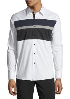 Karl Lagerfeld Men's Colorblocked Poplin Sport Shirt