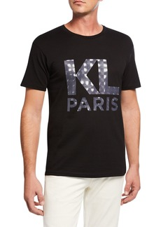 Karl Lagerfeld Men's Cotton T-Shirt with Printed Logo