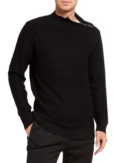 Karl Lagerfeld Men's Directional Stripe Zipper Wool-Blend Sweater