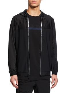 Karl Lagerfeld Men's Dual Tone Logo Zip-Up Hoodie