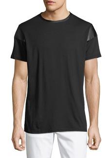 Karl Lagerfeld Men's Faux-Leather-Trim Crewneck T-Shirt