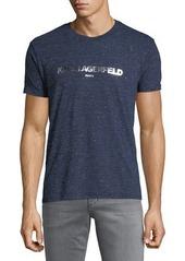 Karl Lagerfeld Men's Foil-Logo Crewneck Short-Sleeve Heathered T-Shirt