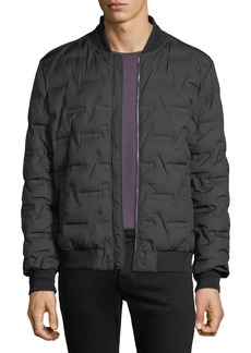 Karl Lagerfeld Men's Geometric Embossed Quilted Bomber Jacket