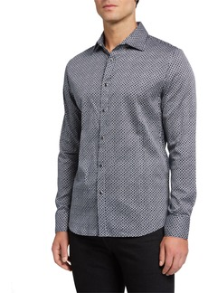 Karl Lagerfeld Men's Long-Sleeve Circle-Print Sport Shirt