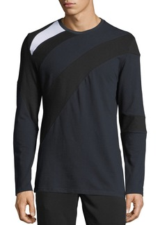 Karl Lagerfeld Men's Long-Sleeve Color-Pieced Crewneck T-Shirt