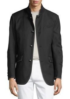 Karl Lagerfeld Men's Military-Style Textured Blazer Jacket