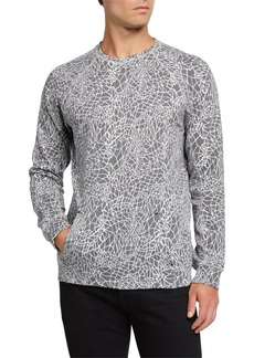 Karl Lagerfeld Men's Printed Sweater w/ Kangaroo Pocket