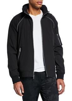 Karl Lagerfeld Men's Raglan Hooded Zip-Front Jacket