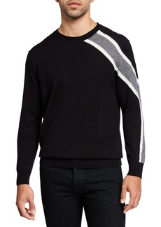 Karl Lagerfeld Men's Rugby Shoulder Stripe Wool-Blend Sweater