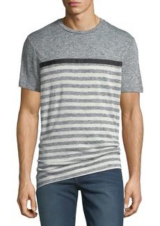Karl Lagerfeld Men's Striped Heathered-Knit Crewneck T-Shirt