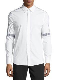 Karl Lagerfeld Men's Tape-Striped Poplin Sport Shirt