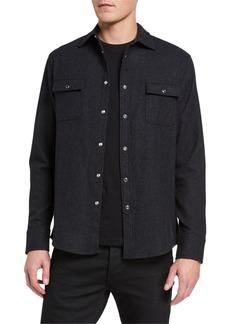 Karl Lagerfeld Men's Wool-Blend Long-Sleeve Sport Shirt