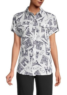 Karl Lagerfeld Mixed Building Graphic Button Front Shirt