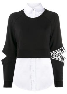 Karl Lagerfeld poplin-panelled sweatshirt