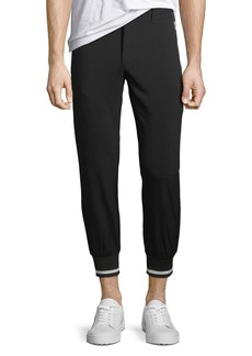 Karl Lagerfeld Ribbed-Cuff Woven Jogger Pants