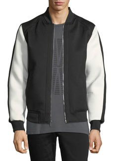 Karl Lagerfeld Scuba-Sleeve Mesh-Front Bomber Jacket