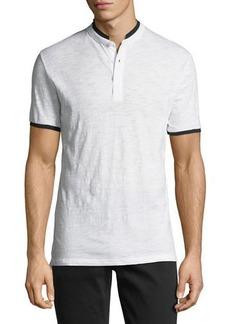 Karl Lagerfeld Short-Sleeve Slub-Knit Henley