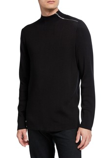 Karl Lagerfeld Shoulder Zip Mock-Neck Sweater
