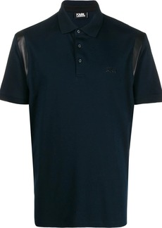 Karl Lagerfeld signature logo textured polo shirt