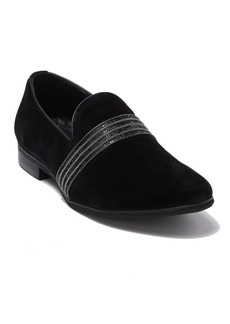 Karl Lagerfeld Striped Band Suede Loafer