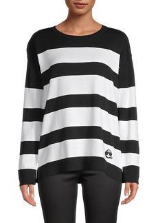 Karl Lagerfeld Striped Cotton-Blend Sweater