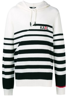 Karl Lagerfeld striped knitted logo hoodie