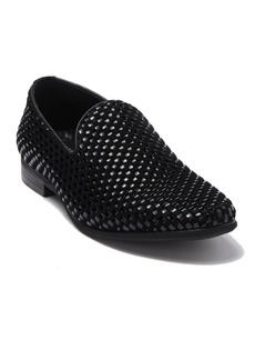 Karl Lagerfeld Velvet Leather Basket Weave Loafer
