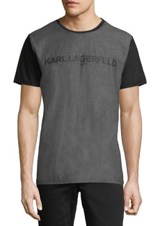 Karl Lagerfeld Woven-Front Matte Foil-Print Logo Tee