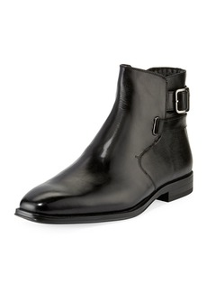 Karl Lagerfeld Wrap-Strap Mixed Leather Boots