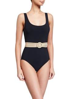 Karla Colletto Brooke Scoop-Neck Belted One-Piece Swimsuit
