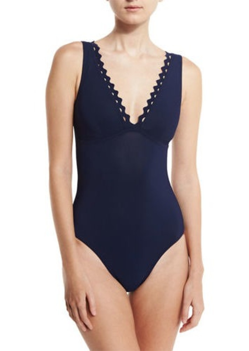 Karla Colletto Rick Rack Scalloped-Neck Underwire One-Piece Swimsuit
