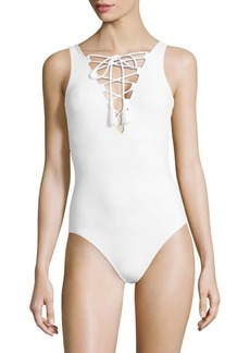 Karla Colletto One-Piece Entwined Lace-Up Swimsuit