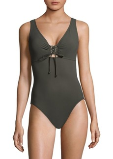 Karla Colletto One-Piece Lace-Up Swimsuit