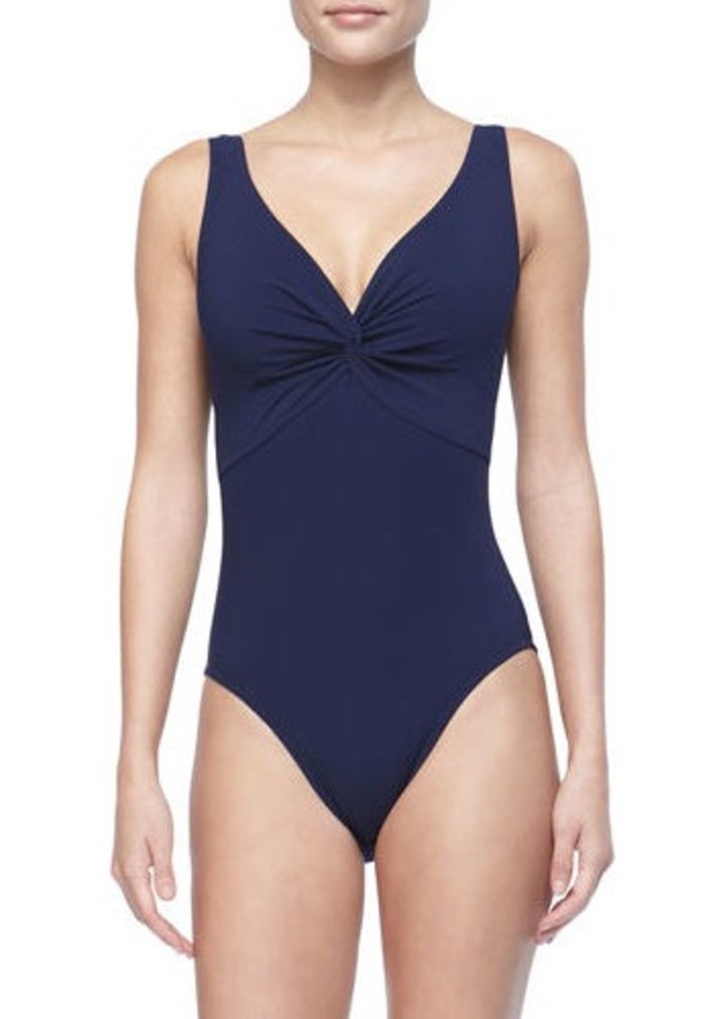 Karla Colletto Twist-Front Silent Underwire One-Piece Swimsuit