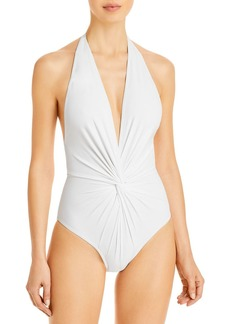 Karla Colletto Twisted Plunge One Piece Swimsuit