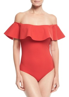 Karla Colletto Zaha Off-the-Shoulder Solid Maillot One-Piece Swimsuit