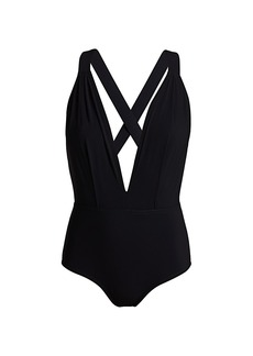 Karla Colletto Maren Plunge-Neck One-Piece Swimsuit