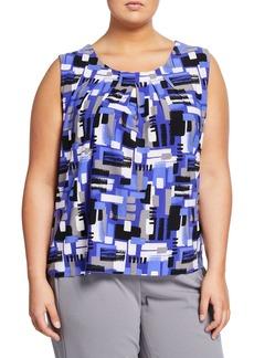 Kasper Brushstroke-Printed Camisole with Pleated Neckline  Plus Size