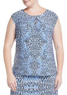 Kasper Cheetah-Print Cap-Sleeve Blouse