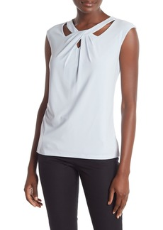 Kasper Criss Cross Cutout Neck Blouse