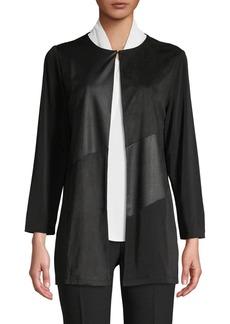 Kasper Asymmetrical Faux Suede Flyaway Jacket