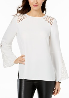 Kasper Bell-Sleeve Illusion Blouse